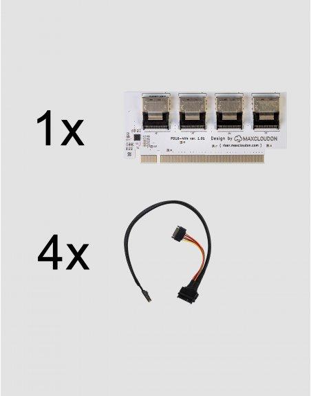 Bifurcated Riser U.2 NVMe SSD X16 to 4X4  (set)